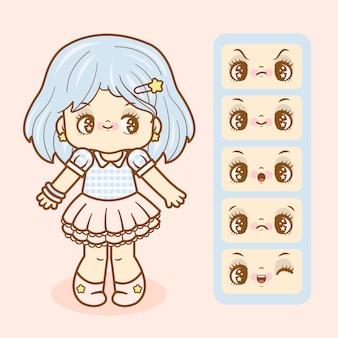 Menina cute kawaii com conjunto de seis expressões