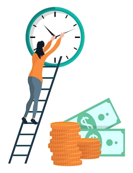 Menina dá corda no relógio, moedas e dólares