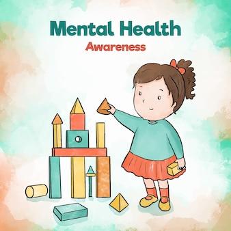Menina da criança da consciência da saúde mental que constrói com brinquedos