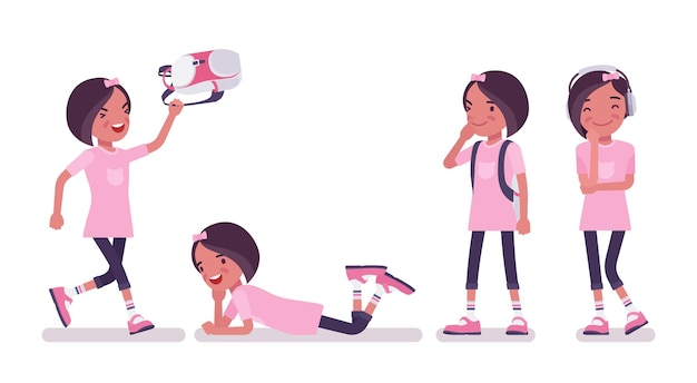 Menina da escola aproveitando o tempo livre. linda senhora pequena em camiseta rosa com mochila depois das aulas, criança ativa, aluno elementar inteligente com idade entre 7, 9 anos de idade. ilustração em vetor estilo simples dos desenhos animados