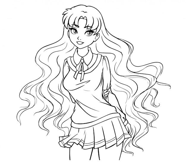 Menina da escola bonito dos desenhos animados com cabelos ondulados e olhos grandes. mão ilustrações desenhadas. arte de contorno para crianças, livro para colorir.