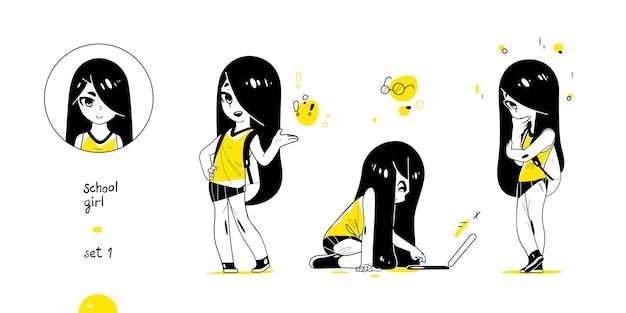 Menina da escola com poses diferentes