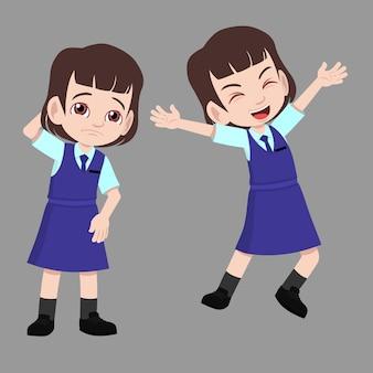 Menina da escola de uniforme tem poses de reação de humor de diferença