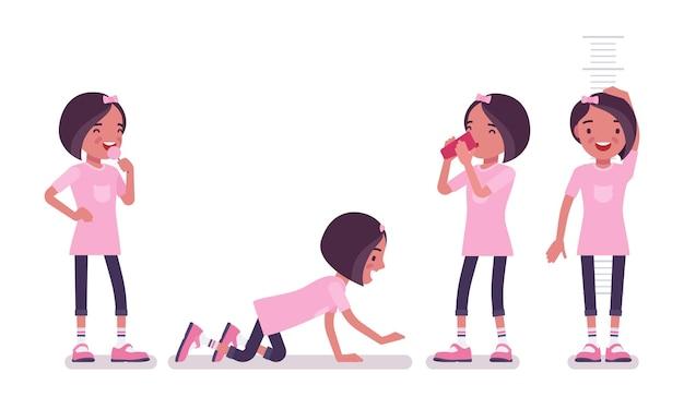 Menina da escola em roupas casuais, curtindo a diversão. senhora pequena bonita em uma camiseta rosa depois das aulas, criança ativa, aluno elementar inteligente com idade entre 7 e 9 anos de idade. ilustração em vetor estilo simples dos desenhos animados
