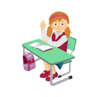 Menina da escola em uma mesa de escola e levantou a mão dela.