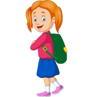 Menina da escola feliz dos desenhos animados carregando mochila