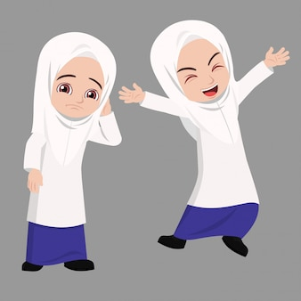 Menina da escola malaia tem duas expressões de humor diferente feliz e triste