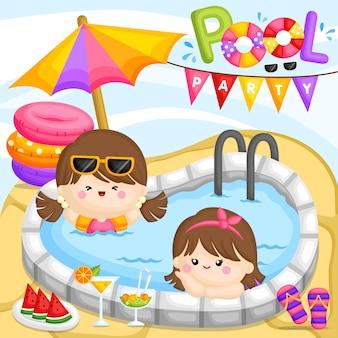Menina da festa na piscina