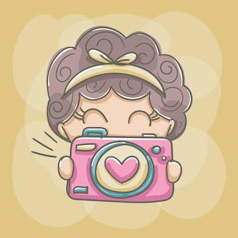 Menina da máquina de fotografia