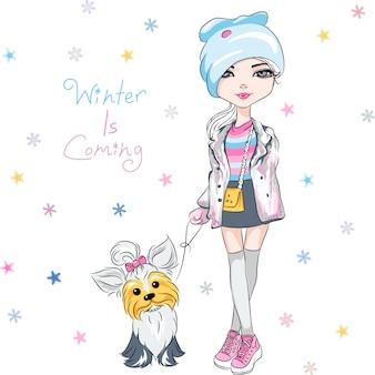 Menina da moda com cachorro