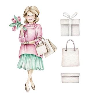 Menina da moda com sacolas de compras e flores