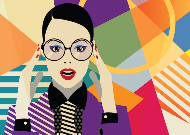 Menina da moda em estilo pop art