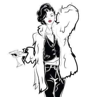 Menina da moda no estilo de desenho com uma taça de vinho ou martini. ilustração vetorial
