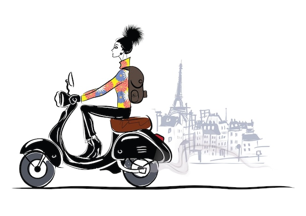 Menina da moda no estilo de desenho vai para a motocicleta nas ruas de paris.