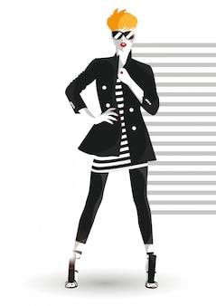 Menina da moda no estilo de desenho.