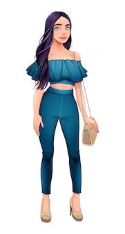 Menina da moda posando com a mão na bolsa dela
