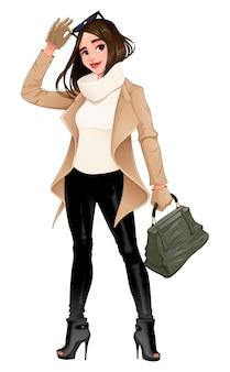Menina da moda posando com óculos de sol nas mãos dela