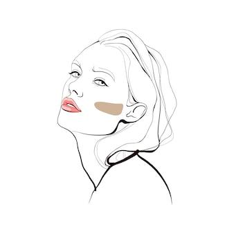 Menina da moda. rosto abstrato. ilustração de moda.