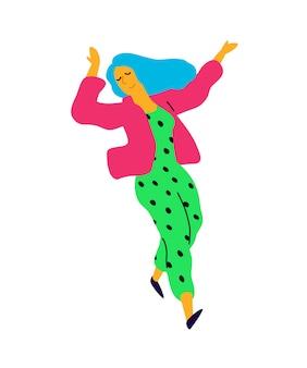 Menina dança alegre em uma jaqueta rosa