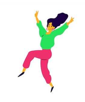 Menina dançando alegre.
