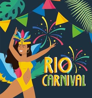 Menina, dançarino, com, partido, para, carnaval