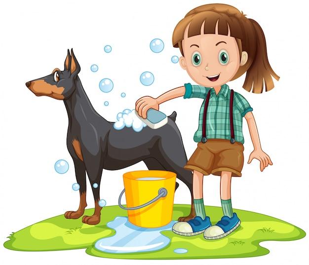Menina dando banho para cachorro de estimação
