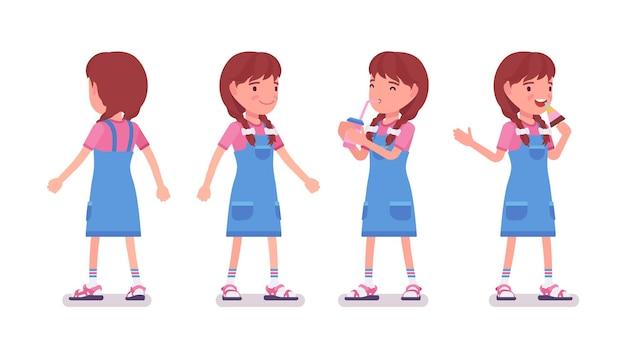 Menina de 7 a 9 anos de idade, menina ativa em idade escolar em pé, bebendo água com gás, gosta de comer sorvete