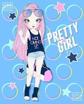 Menina de aptidão bonito desenhado de mão com design colorido