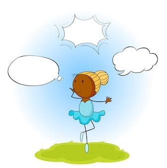 Menina de balé com balão de fala