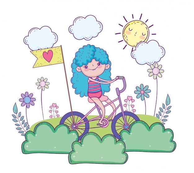 Menina de beleza brincar e andar de bicicleta