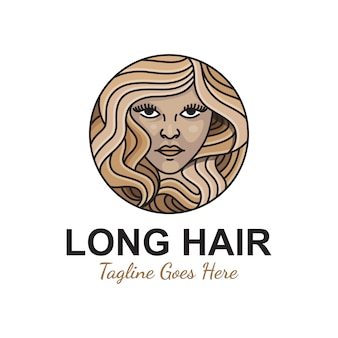 Menina de beleza cabelos longos para salão ou produto cosmético seu modelo premium de ilustração de logotipo de negócios