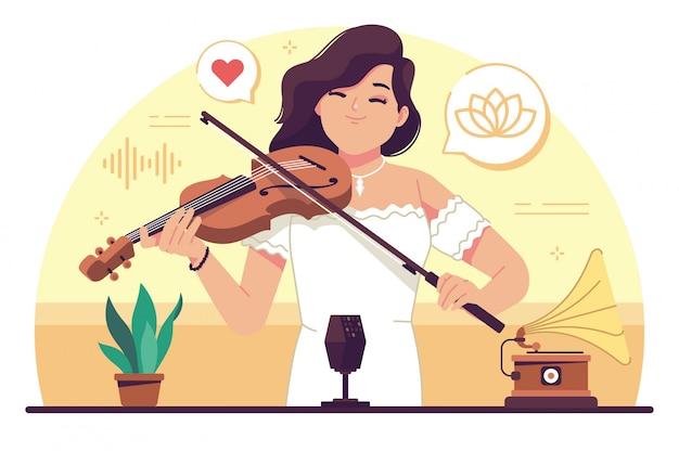 Menina de beleza tocando violino design plano ilustração