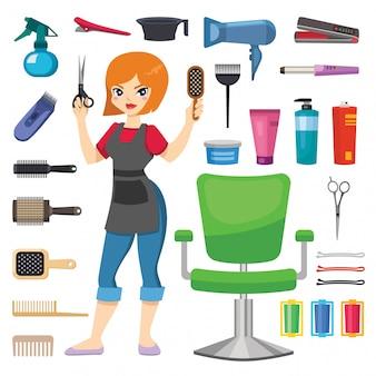 Menina de cabeleireiro barbeiro