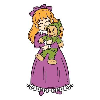 Menina de cabelo vermelho, segurando o brinquedo.