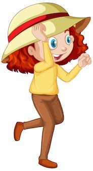 Menina de cabelo vermelho, vestindo chapéu e camisa amarela