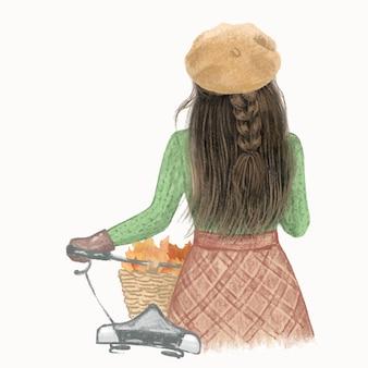 Menina de cabelos castanhos com uma bicicleta em uma ilustração desenhada à mão no outono