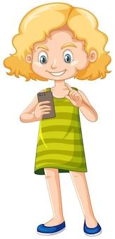 Menina de camisa verde usando personagem de desenho animado de smartphone isolada no fundo branco
