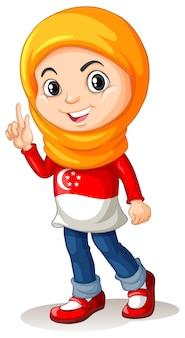 Menina de cingapura com lenço na cabeça
