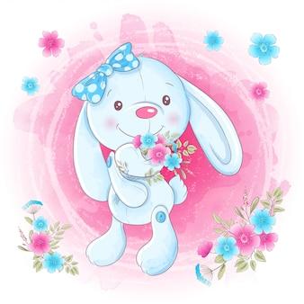 Menina de coelho bonito dos desenhos animados com flores.