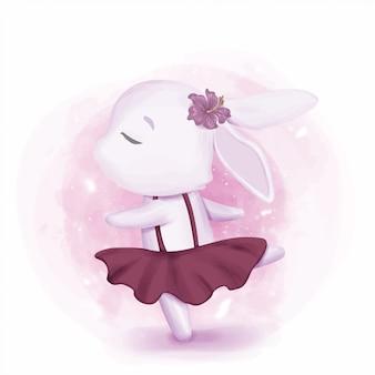 Menina de coelho dançando como bailarina
