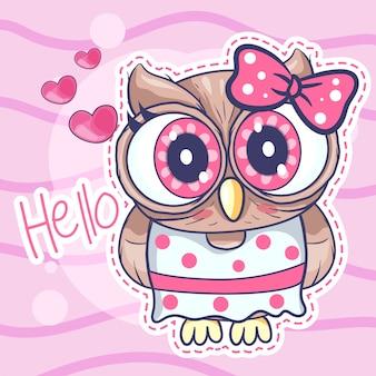 Menina de coruja bonito dos desenhos animados