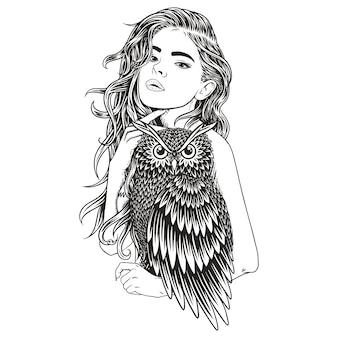 Menina de coruja de beleza