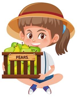 Menina de crianças com frutas ou vegetais em fundo branco