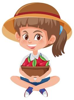 Menina de crianças com frutas ou vegetais isolados no branco