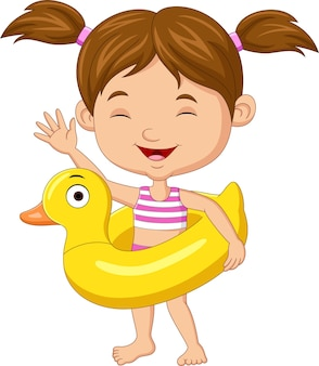 Menina de desenho animado com anel inflável