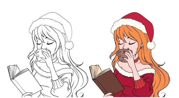 Menina de desenho animado com roupas de natal lendo livro e bebendo café