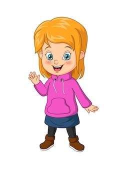 Menina de desenho animado com roupas de outono