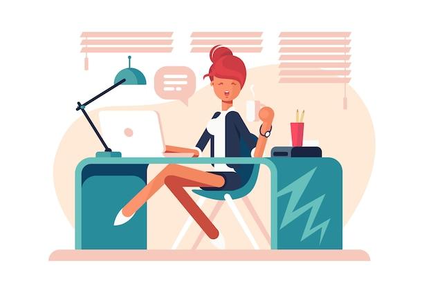Menina de desenho animado sentada no local de trabalho