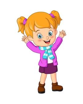 Menina de desenho animado usando roupas quentes