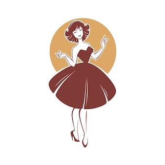 Menina de estilo novo visual, senhora retrô para seu logotipo, etiqueta, emblema